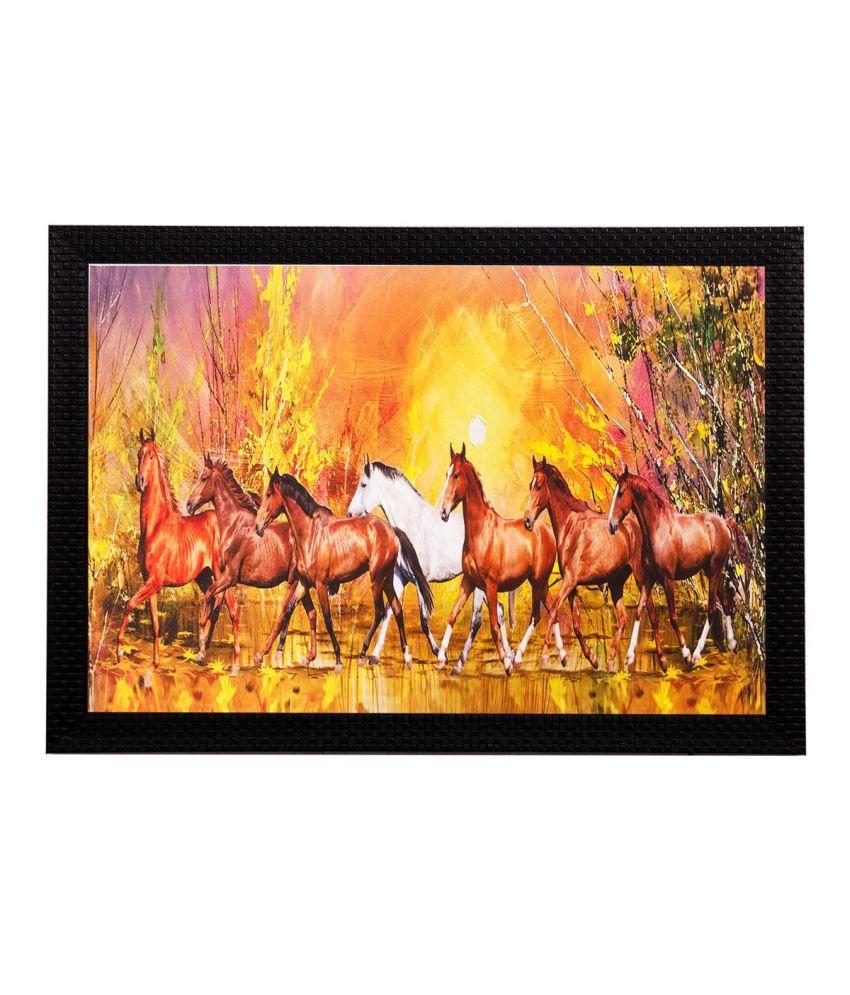 eCraftIndia Running Brown Lucky Horses Matt Textured Framed UV Art Print