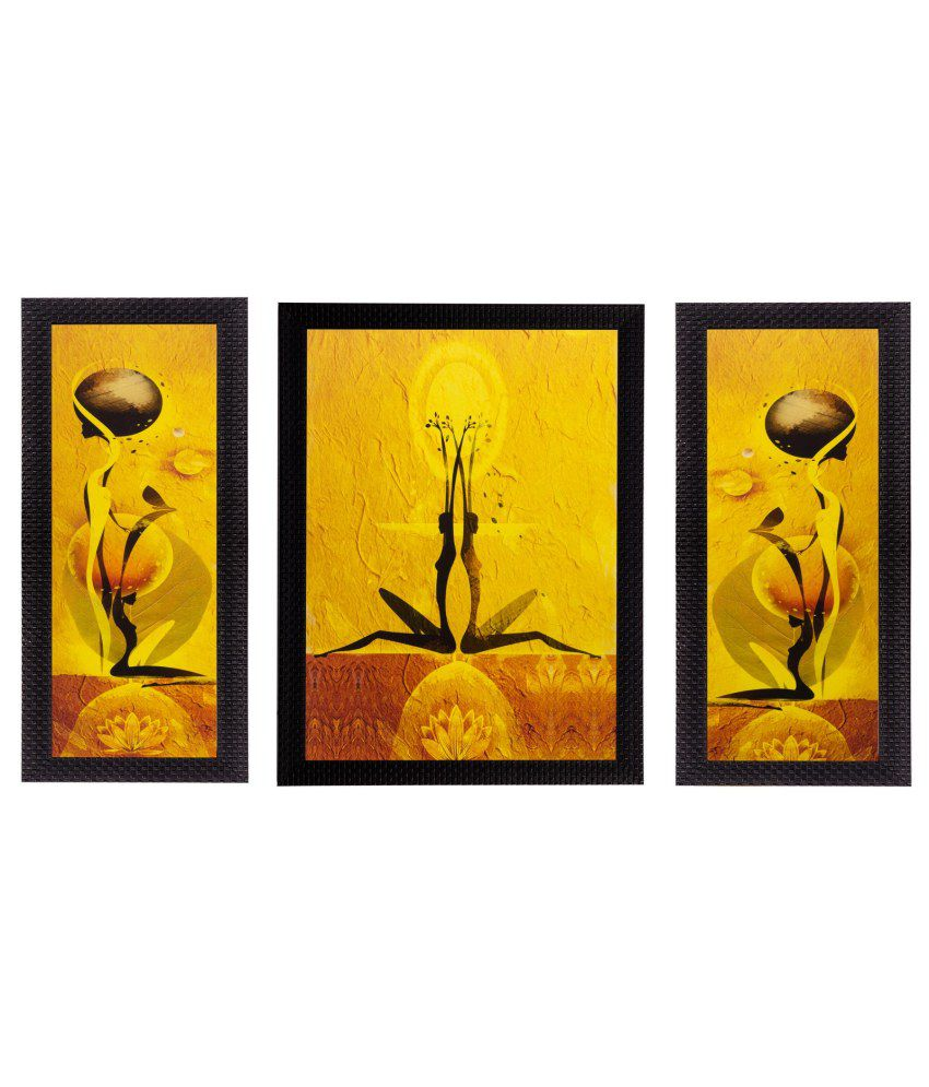 eCraftIndia Set of 3 Abstract Dancing Girls Matt Textured Framed UV Art Print