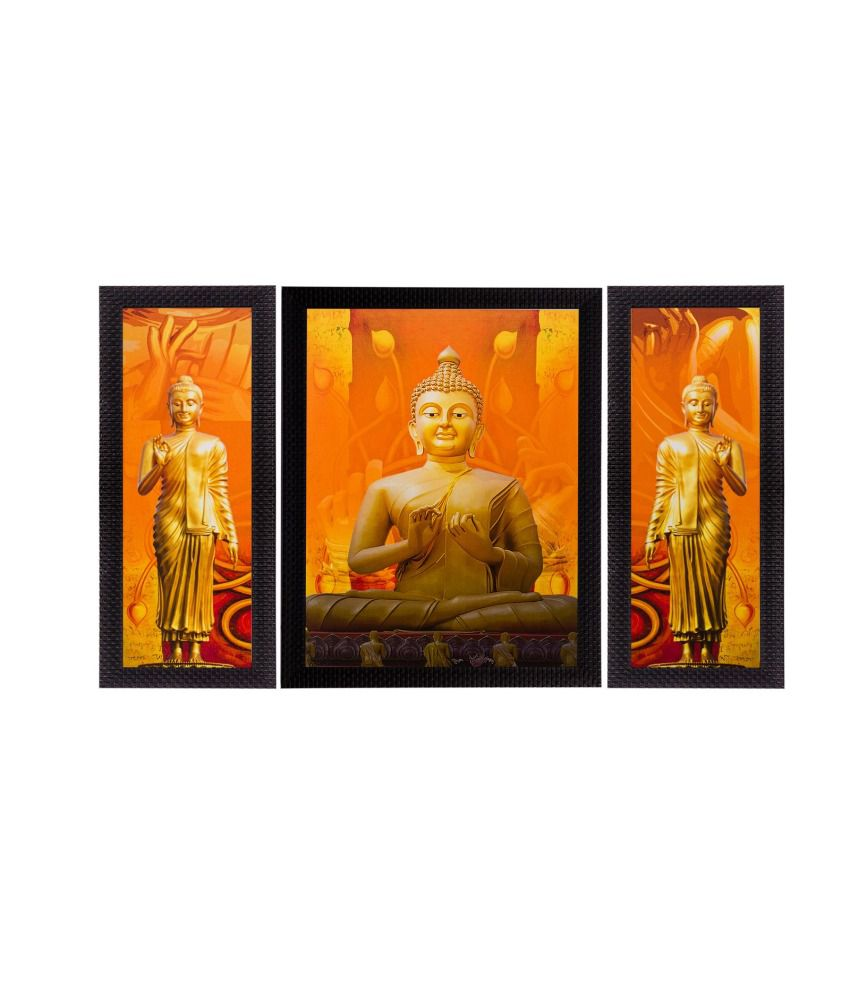eCraftIndia Set of 3 Meditating Buddha Matt Textured Framed UV Art Print
