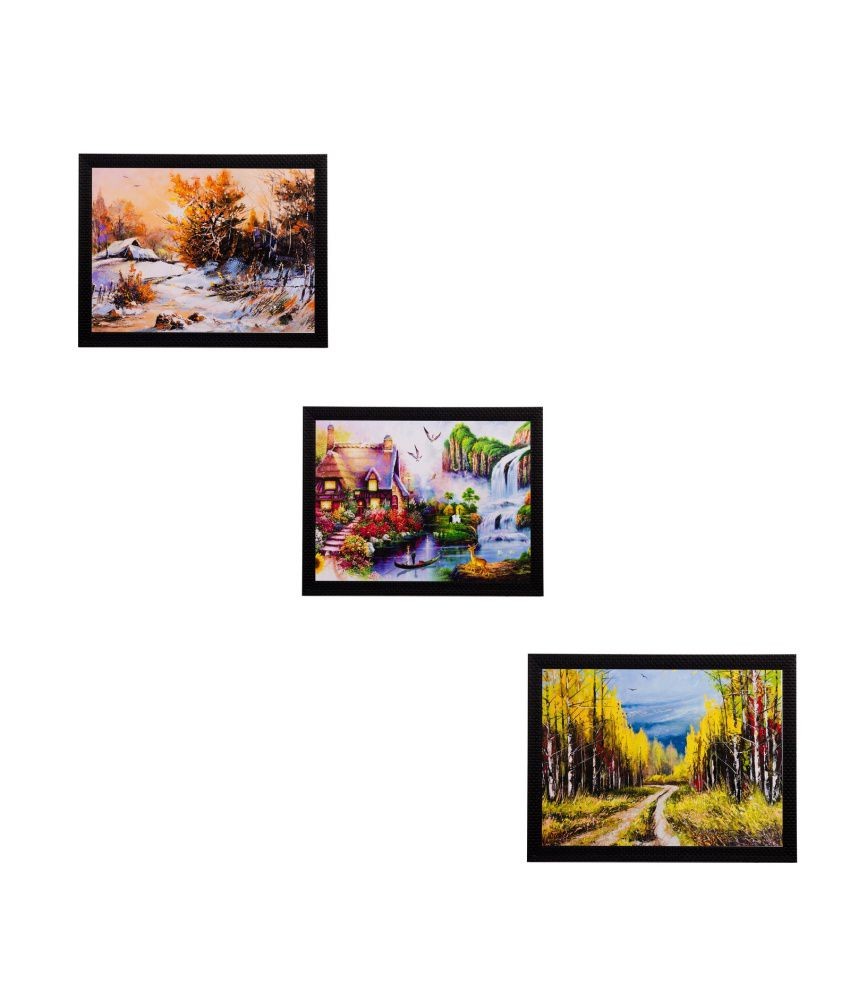 eCraftIndia Set of 3 Nature Scenery Matt Textured Framed UV Art ...