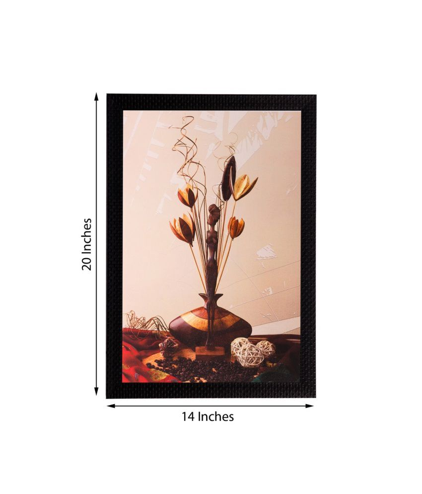 eCraftIndia Vase and Stem Matt Textured Framed UV Art Print