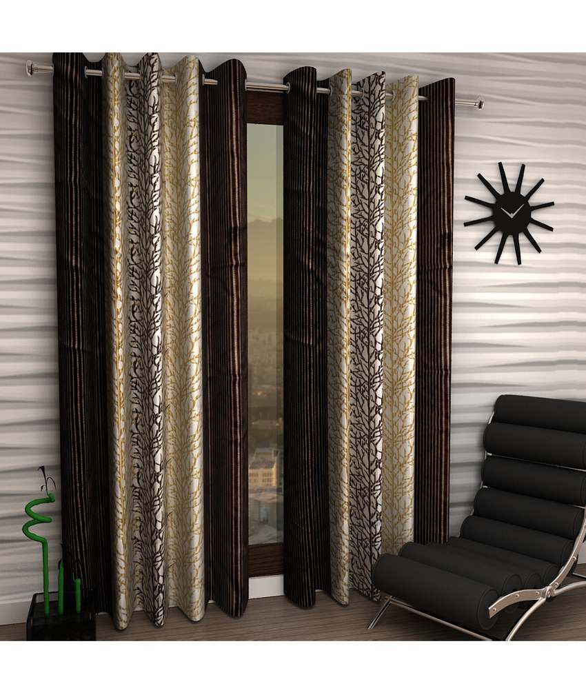Home Sizzler Brown Door Curtains - Set of 2