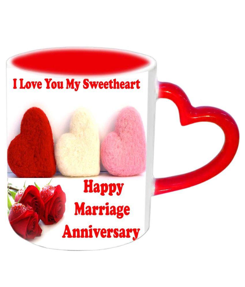 Jiya Creation Happy Marriage Anniversary Red Heart Handle Ceramic