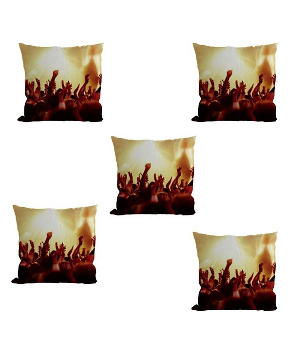 Nine Living Multicolour Polyester Natural Roots Digital Printed Cushion Covers - Set Of 5