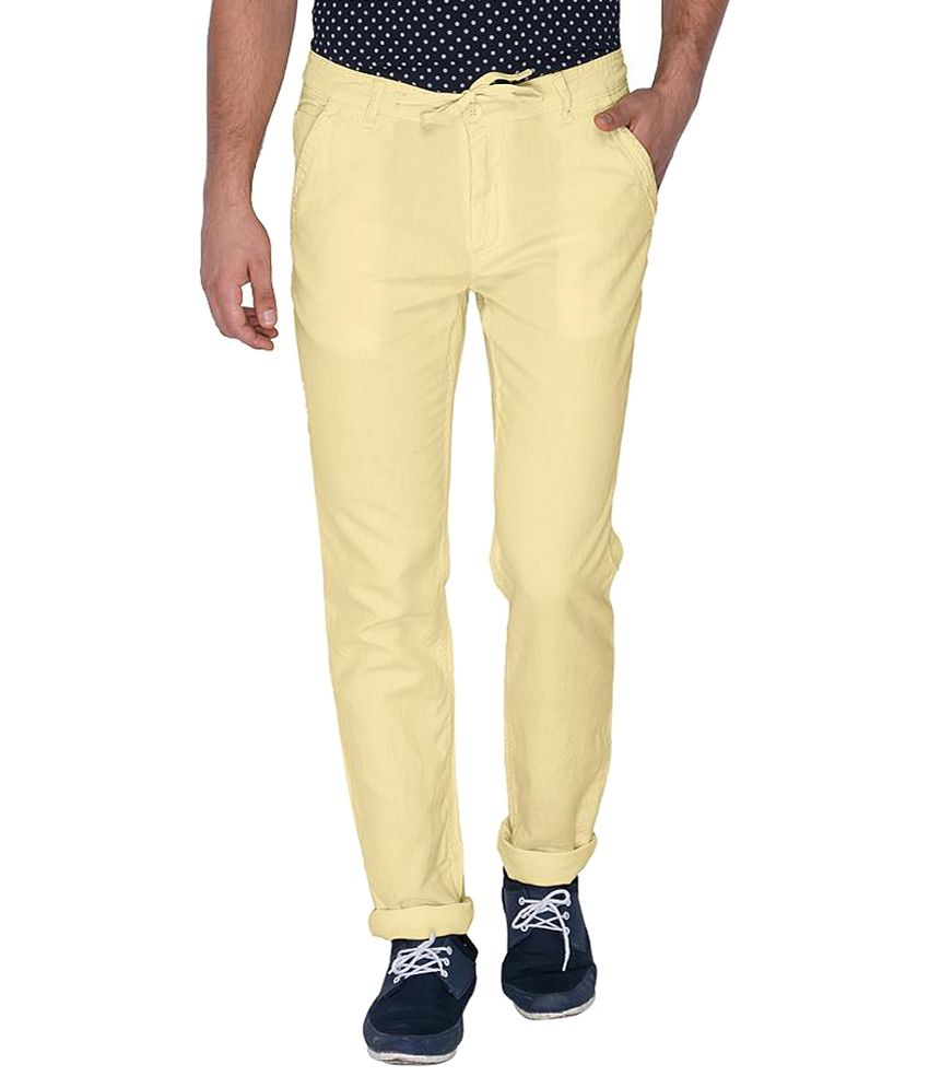 Mufti Yellow Slim Fit Trousers