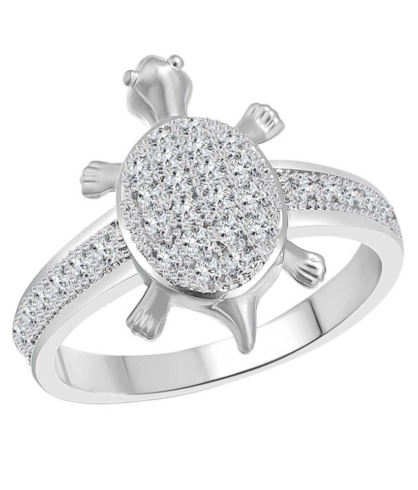 Vighnaharta Micro Tortoise Alloy Rhodium Plated Ring