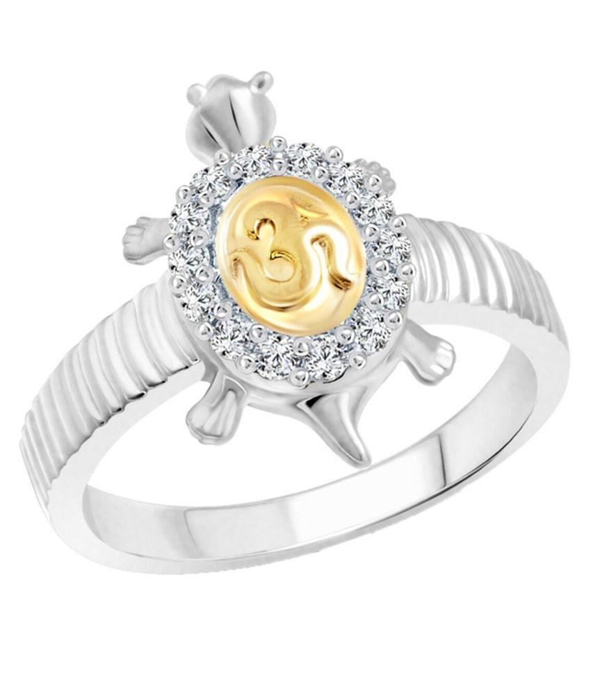Vighnaharta Shubhra Om Tortoise Alloy Rhodium Plated Ring
