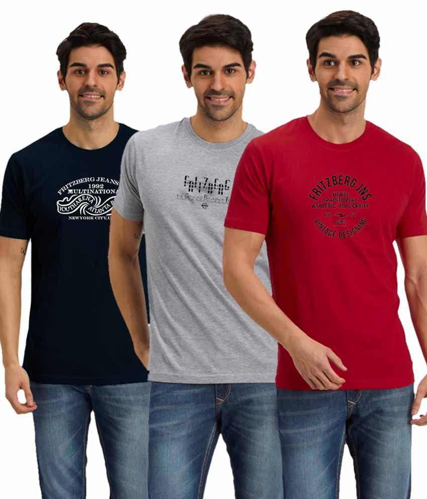 Fritzberg Multi Round T Shirts Pack Of 3