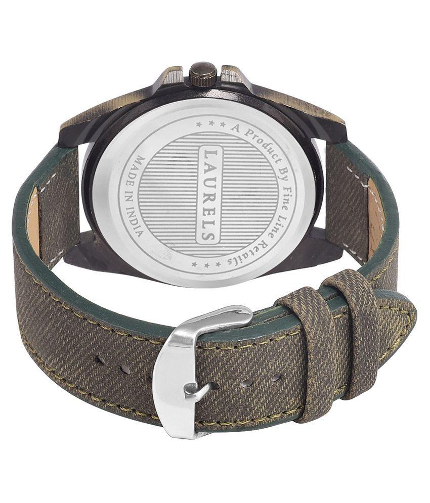 Laurels Green Leather Wrist Watch For Men - Buy Laurels ...