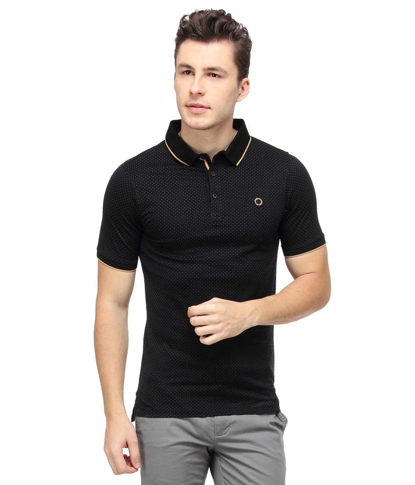 Proline Black Full Solids Polo T-Shirt