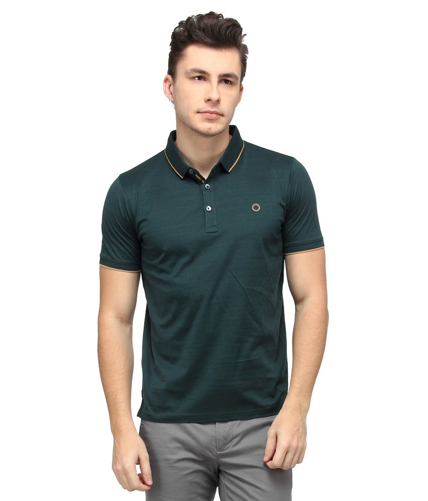 Proline Green Half Sleeves Solids Polo T-Shirt