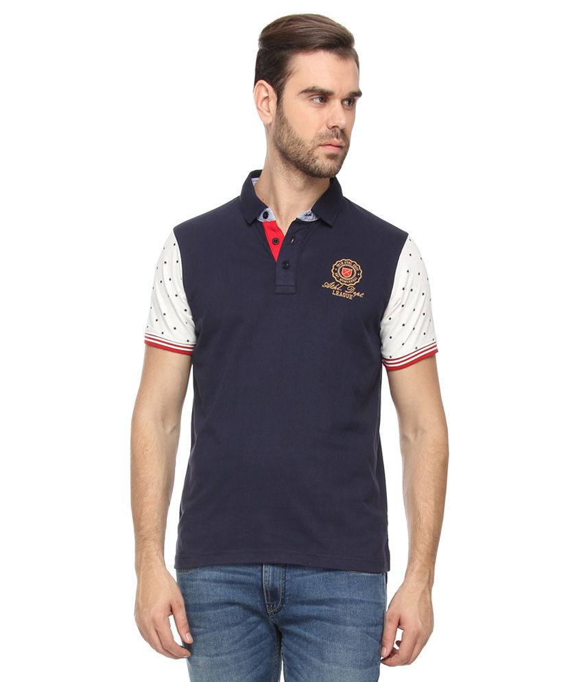 Proline Navy Half Sleeves Solids Polo T-Shirt