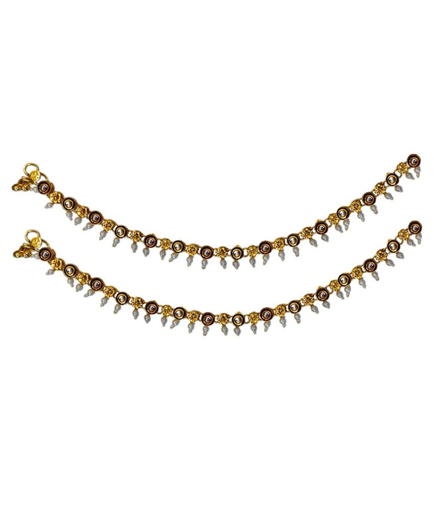 Charvee Golden and White Alloy Pair of Anklets