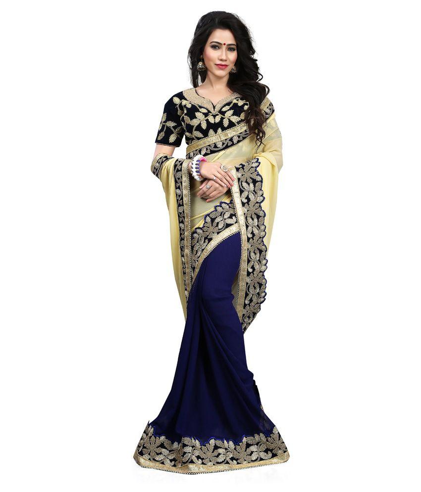 Shivanya Fashion Navy Georgette Saree Buy Shivanya Fashion Navy Georgette Saree Online At Low