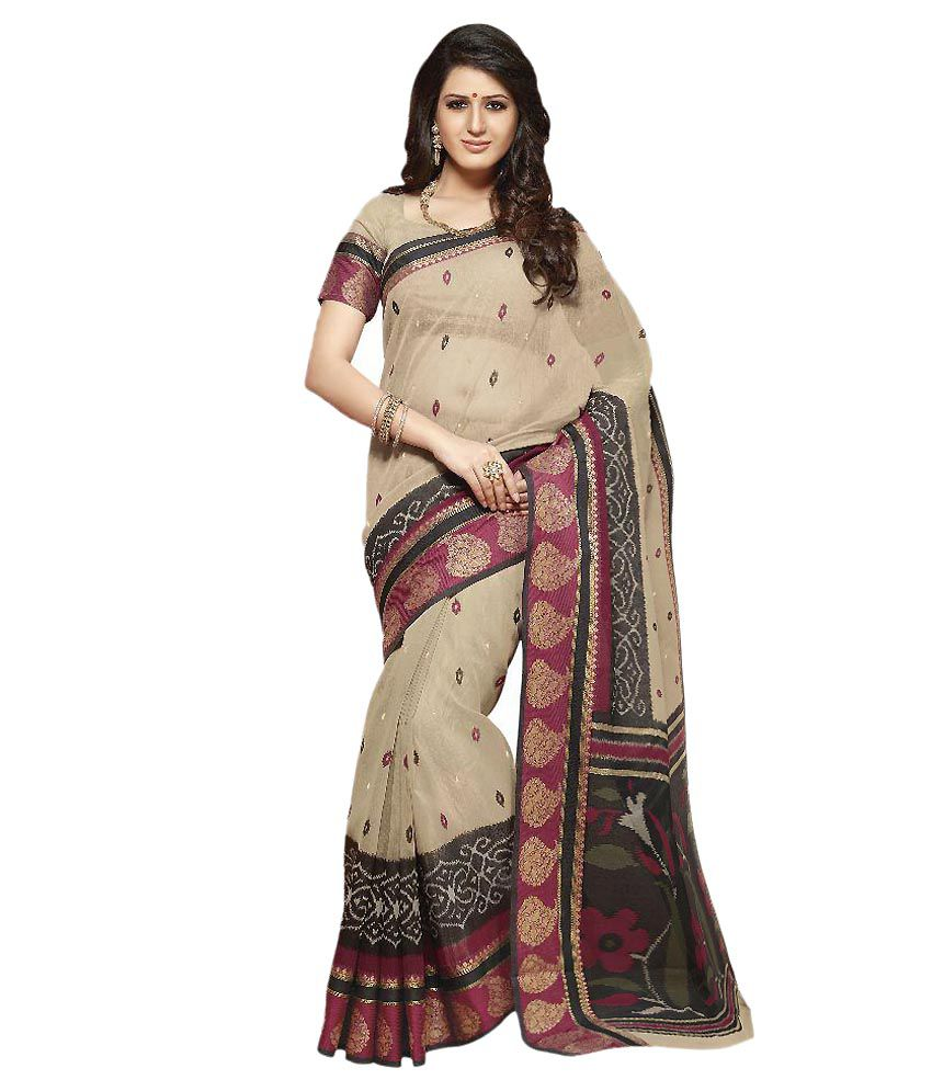 Aaditri Fashions Beige Cotton Silk Saree