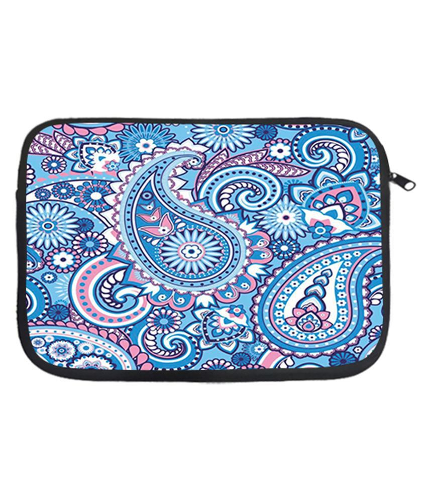 Via Flowers Polyester Laptop Sleeve Blue 15 Inch - Multicolor