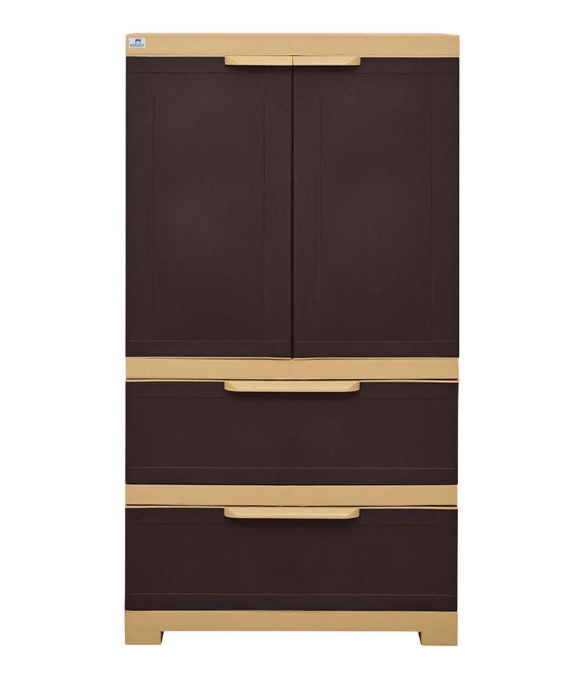Nilkamal Freedom 2 Door Cabinet with 2 Drawers- Brown - Buy ...