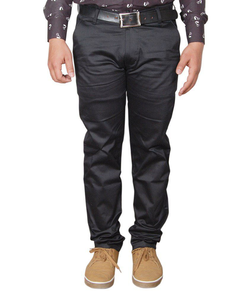 Avastra Black Regular Fit Flat Trousers