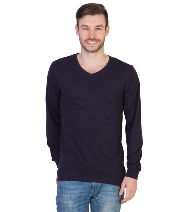 Acomharc Inc Navy Cotton Full Sleeves V-Neck T-shirt