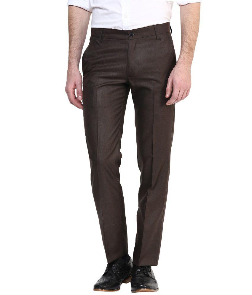 Bukkl Brown Slim Fit Formal Flat Trousers