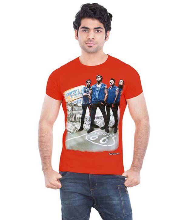 Kkoir Orange Round T Shirts