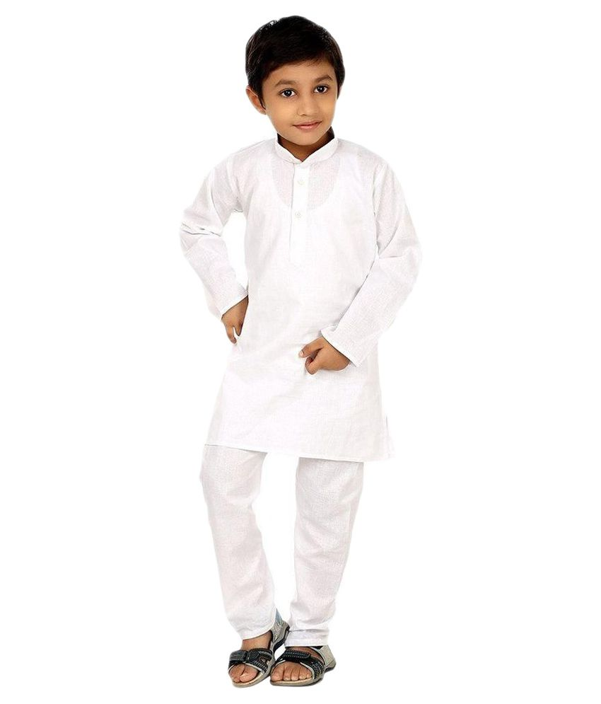 Attitude Works White Cotton Kurta Pajama