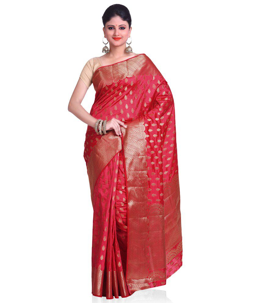 Meghdoot Red Artificial Silk Saree