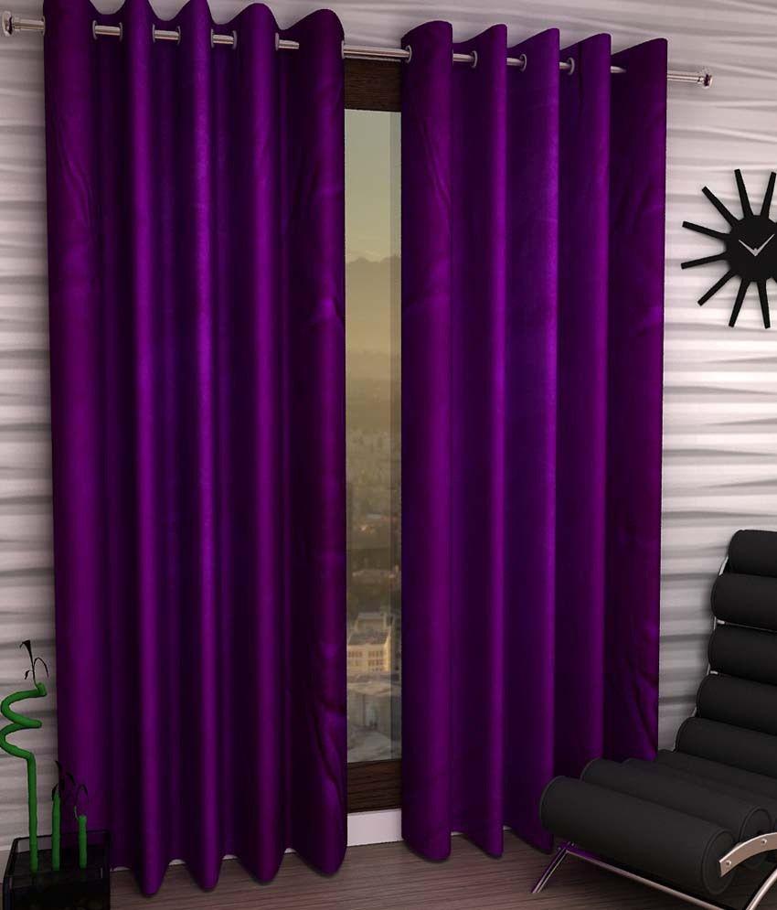 Panipat Textile Hub Purple Polyester Window Curtain Set Of