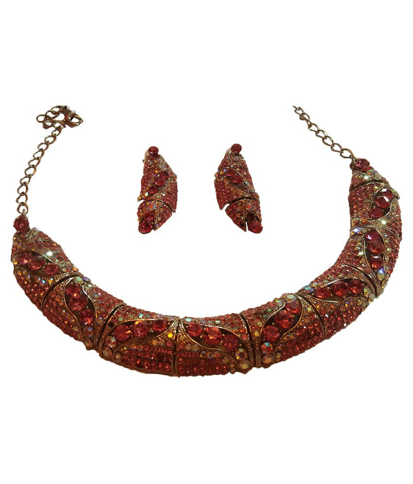 Qawachh Mobility Pink Alloy Necklace Set