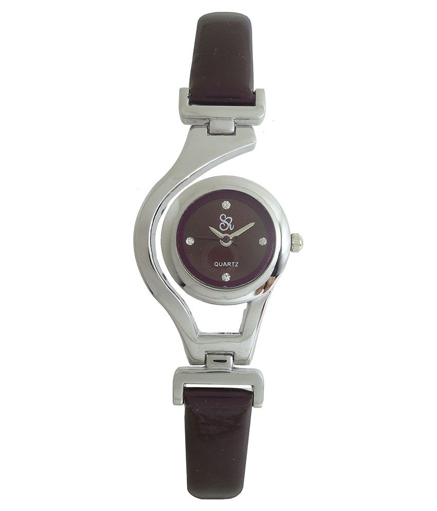 S R Collection Purple Leather Wrist Watch For Women
