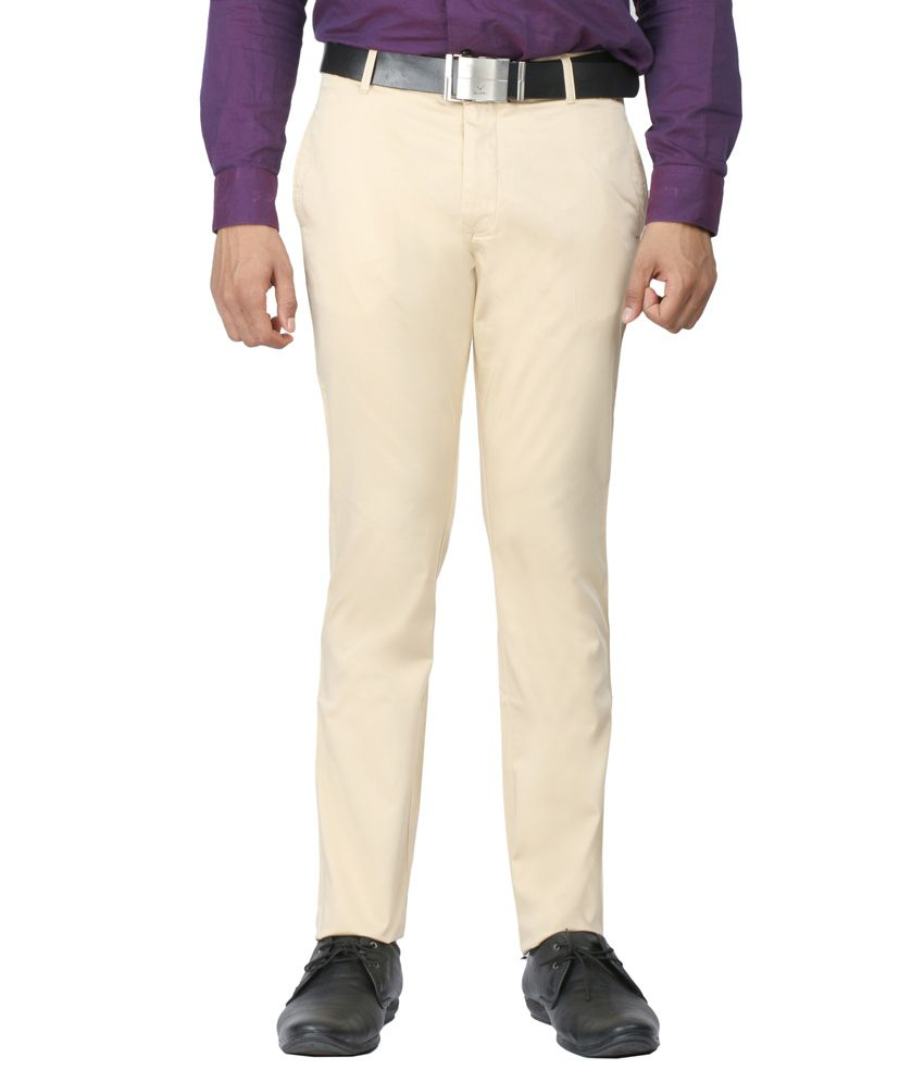 Donear NXG Beige Slim Fit Flat Trousers