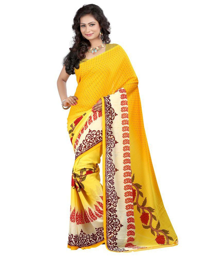 Goal Achiver Yellow Georgette Saree