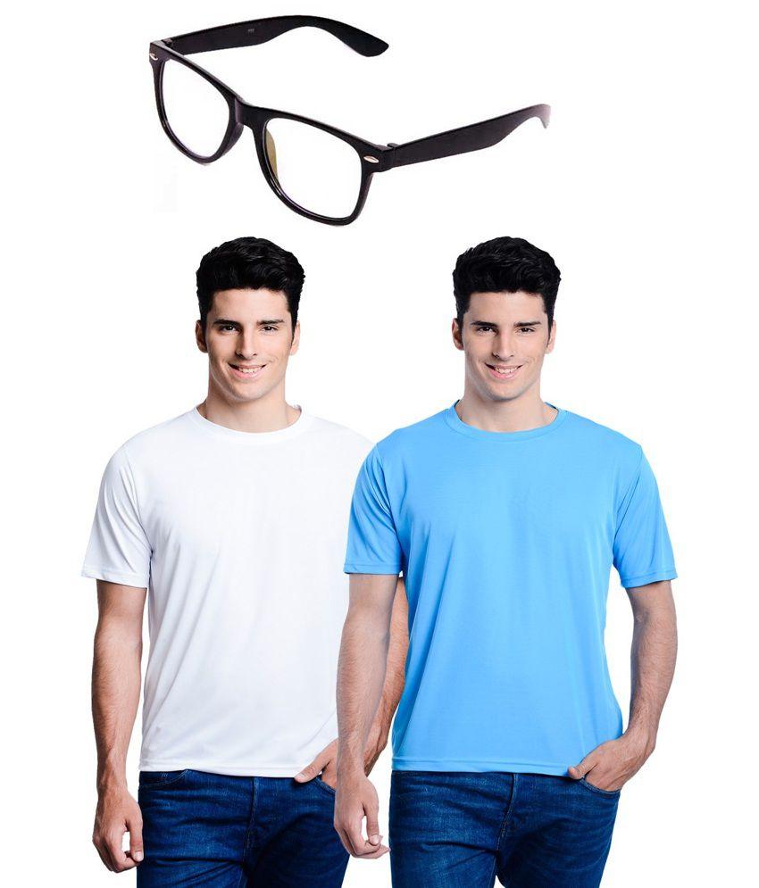 Lime Multi Round T Shirts Combo of 2 T Shirts with Wayfer Sunglasses