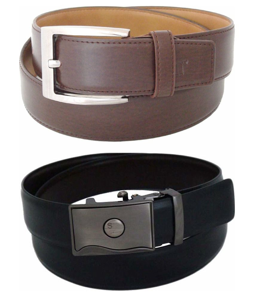 SFA Multicolour Non Leather Belt for Men - Set of 2