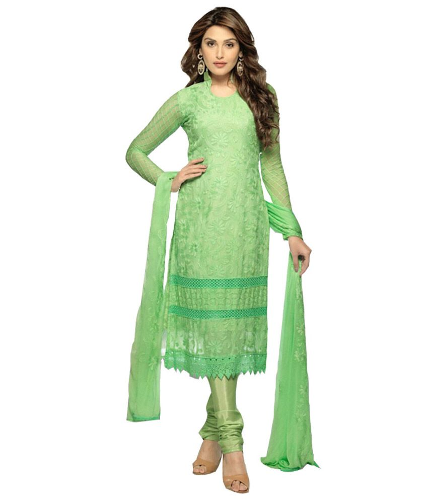 Hallow Plus Green Santoon Pakistani Suits Semi Stitched Suit - Buy