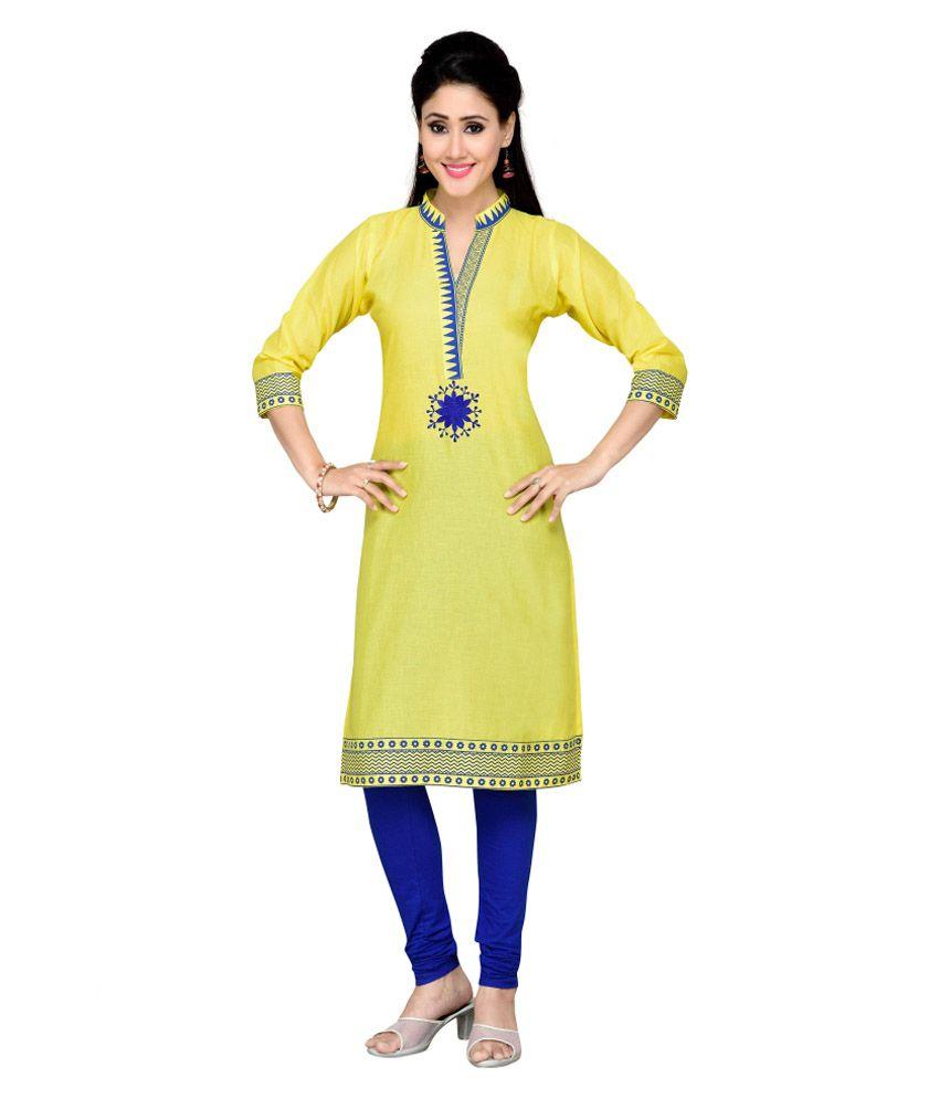 Alc Creations Yellow Cotton A - line Kurti
