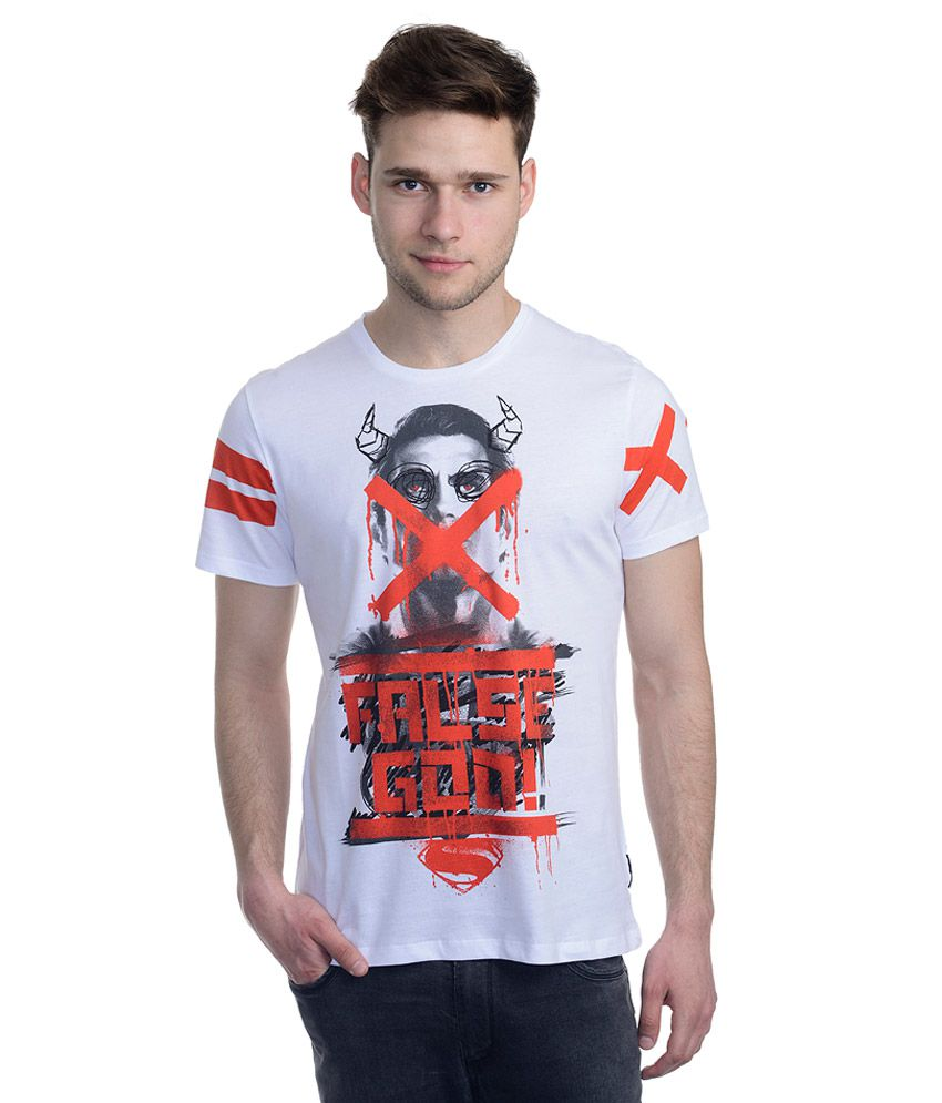 Superman White Printed T-Shirt