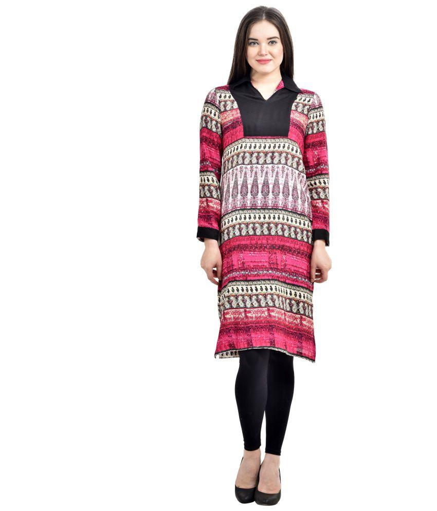 Abhinav Fashion Multi Color Viscose Straight Kurti