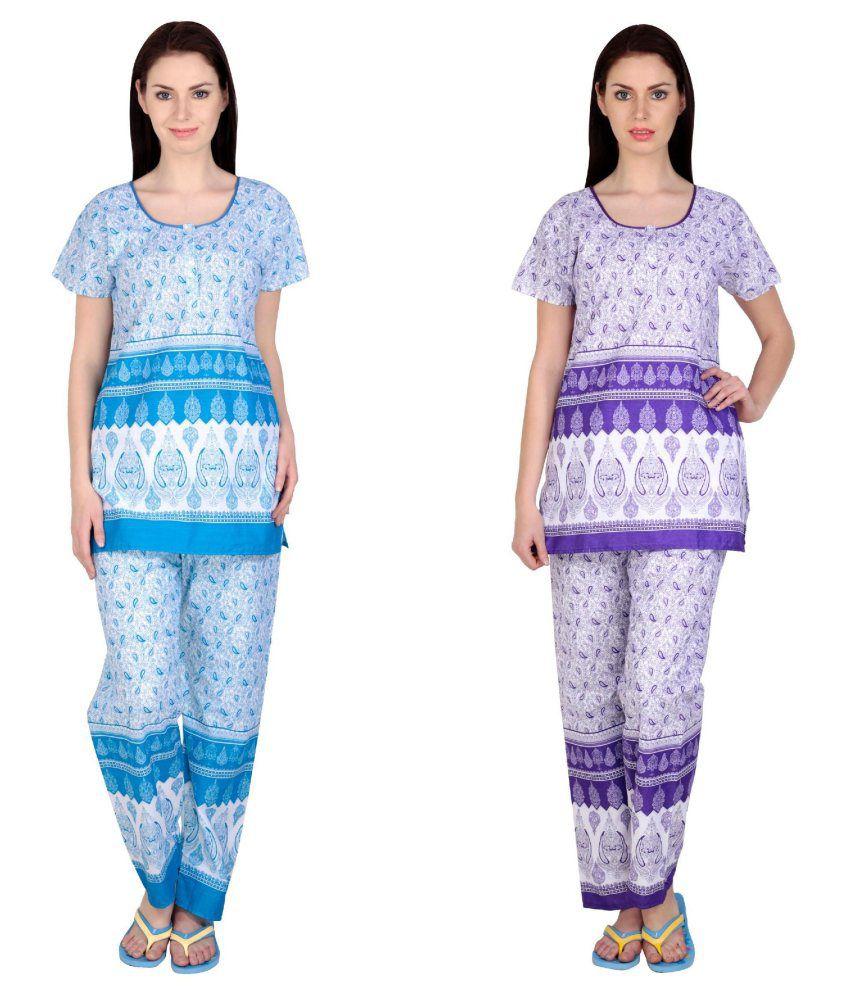 Simrit Multi Color Cotton Nightsuit Sets