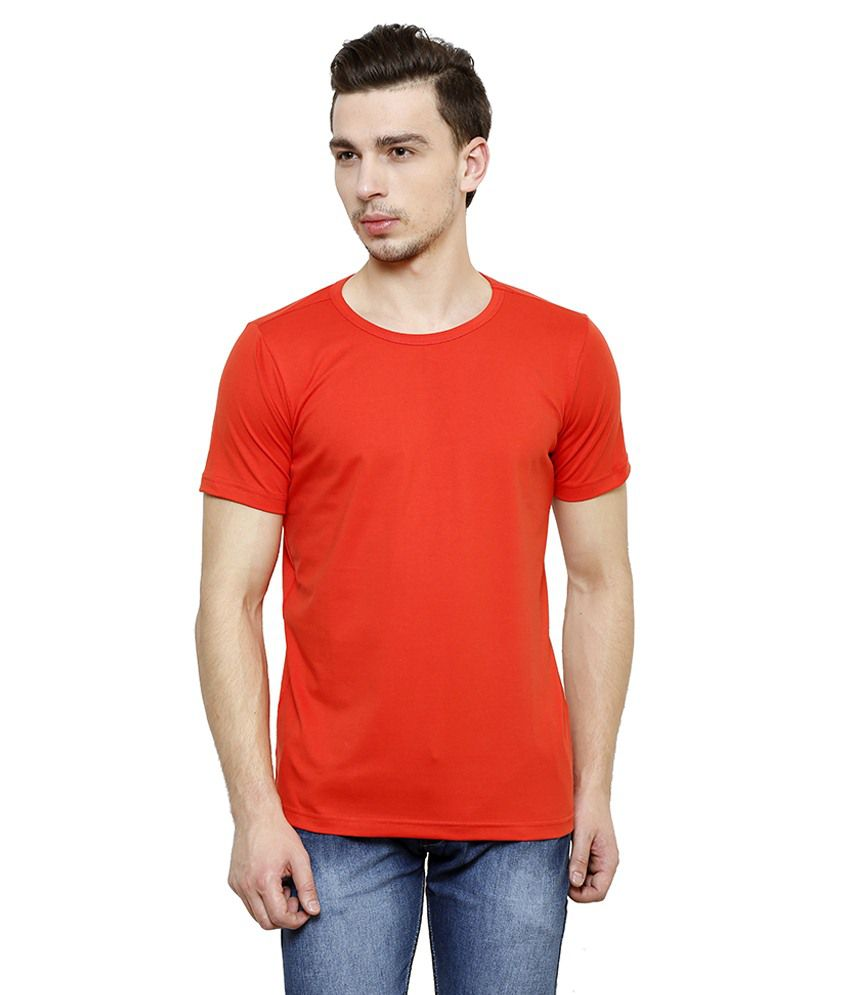 Casual Tees Orange Round T Shirts