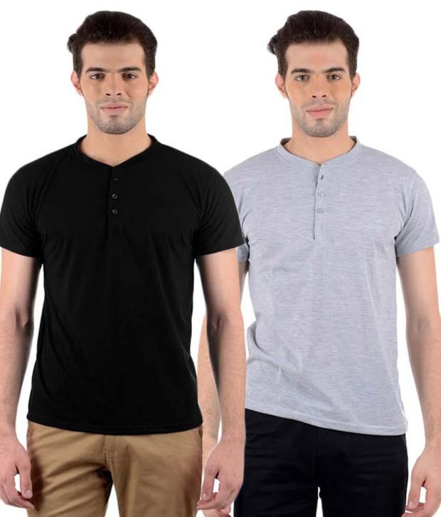 Gallop Multi Henley T Shirts Pack of 2