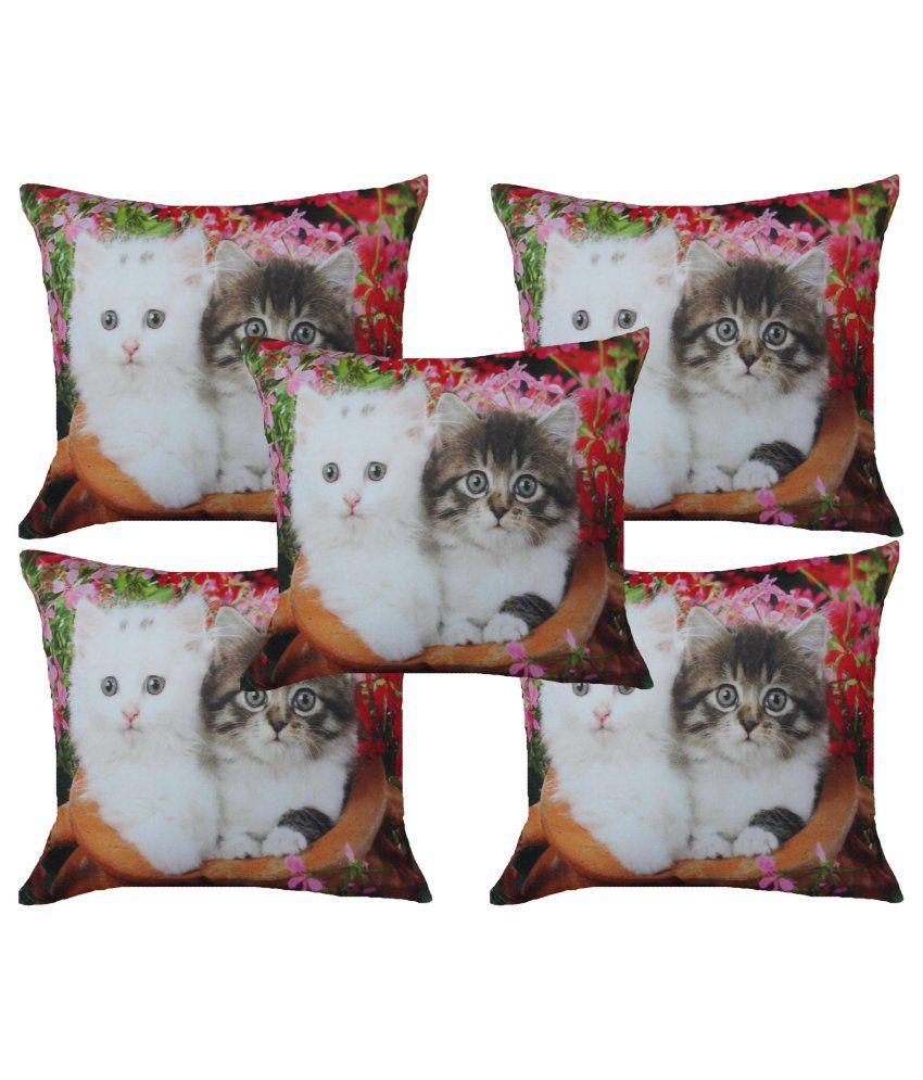 Home Shine Multicolour Printed Velvet Cushion Cover - Set of 5