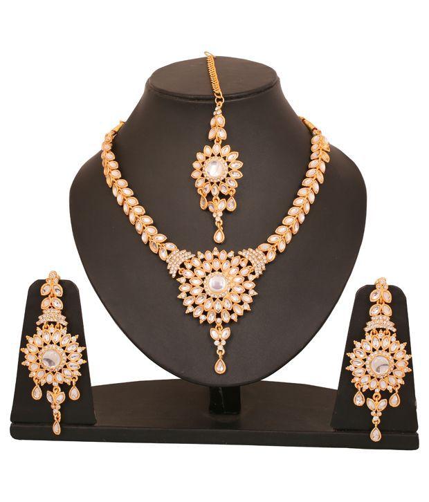 Touchstone Floral Splendour AD & Kundan Necklace Set