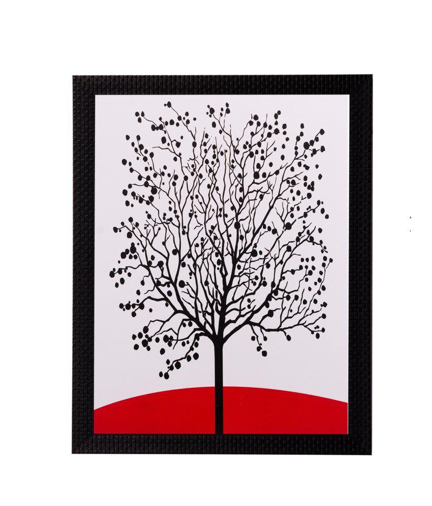 eCraftIndia Abstract Black Tree Matt Textured Framed UV Art Print