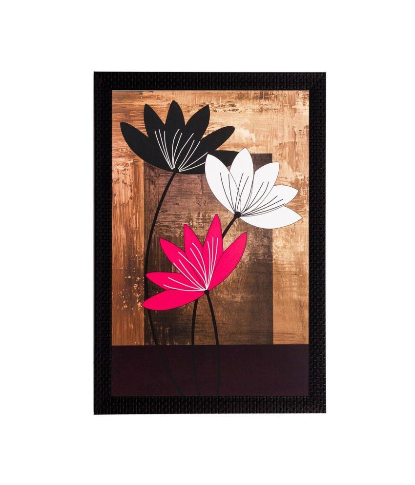 eCraftIndia Abstract Flowers Captured Matt Textured Framed UV Art Print