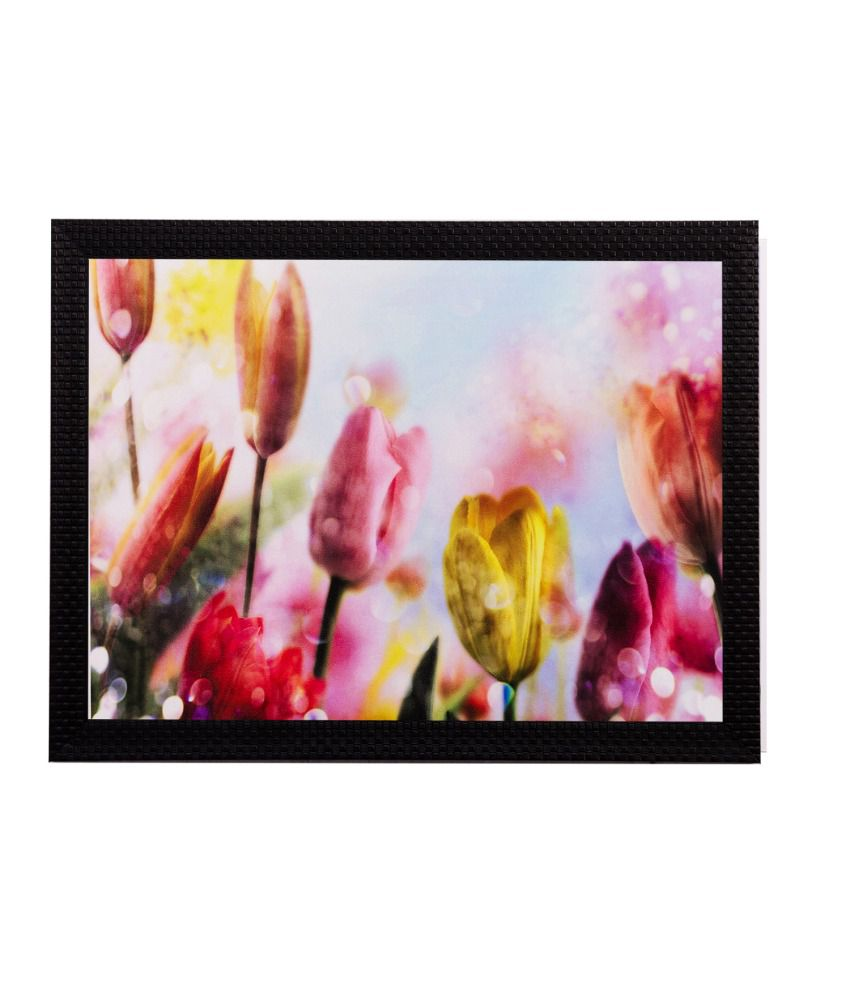 eCraftIndia Colourful Floral Matt Textured Framed UV Art Print