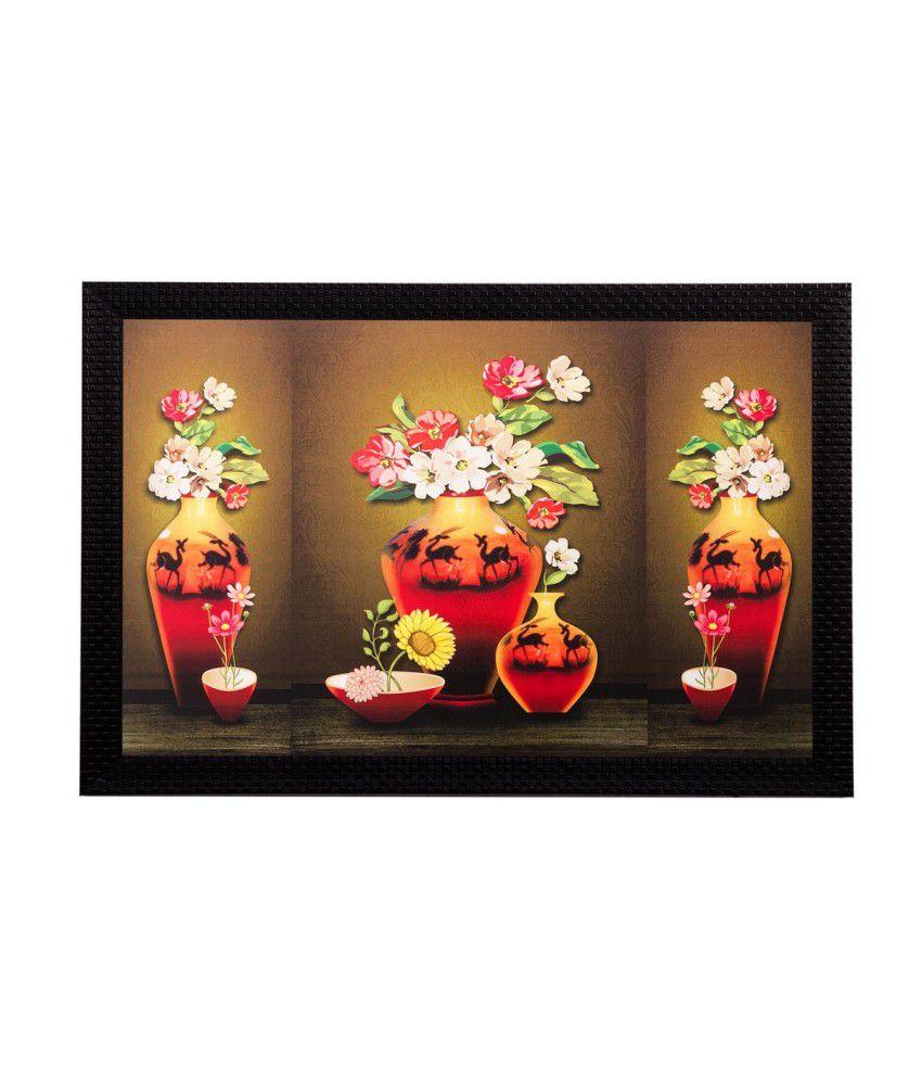 eCraftIndia Colourful Vase and Flowers Matt Textured Framed UV Art Print
