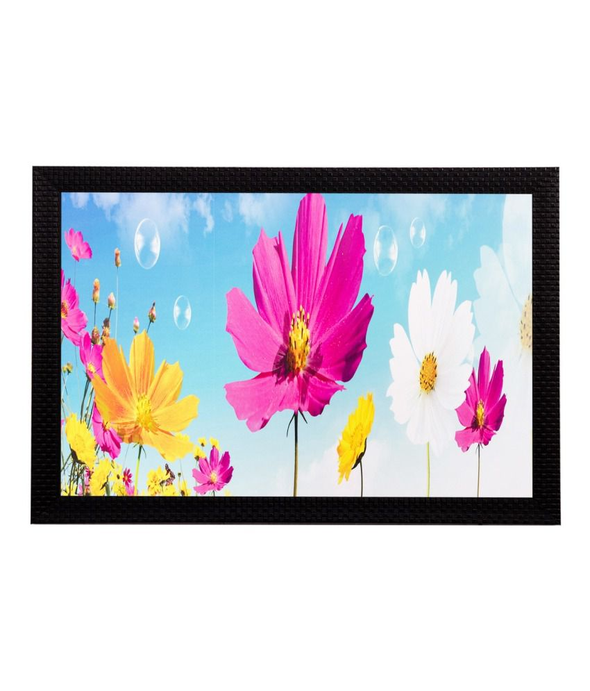 eCraftIndia Pink Yellow Flowers Matt Textured Framed UV Art Print