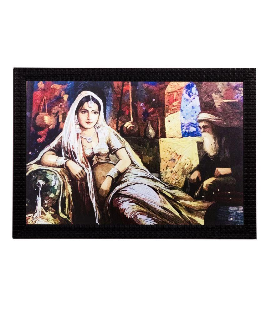 eCraftIndia Sitting Woman Matt Textured Framed UV Art Print