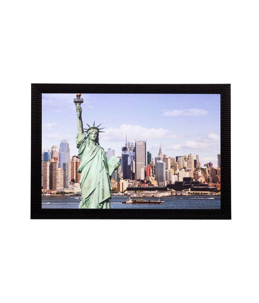 eCraftIndia Statue Of Liberty Matt Textured Framed UV Art Print
